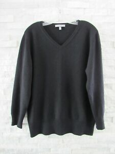 Neiman Marcus Black 100% Cashmere V-Neck Tunic Sweater XL CURRENT LABEL!