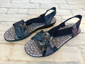 Spring Step Crespo Womens 39 / 8.5 Blue Leather Slip On Low Wedge Sandals 9c1