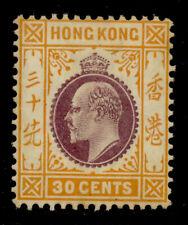 HONG KONG GV SG97, 30c purple & orange yellow, M MINT. Cat £65.