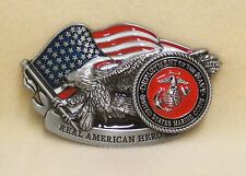 Belt Buckle United States Marine Corp American Hero EGA with US Flag and Eagle