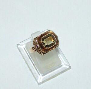Attraktiver Ring Gold 585 citrinfarbener Stein 60er Jahre