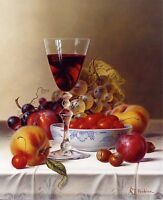 Still life Red Wine Fruit Oil Painting Home Decor Art Wall Printed On Canvas II