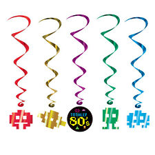 5 Retro Party Decoration TOTALLY 80s Party Decoration Hanging WHIRLS Swirls