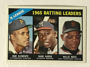 1966 Topps National League 1965 Batting Leaders #215 Mays Aaron Clemente EX