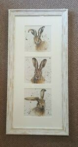 Bree Merryn Framed Hare picture trio of prints / triptych Portrait