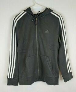 Adidas Essentials 3-Stripe Full Zip Hoodie, Black/White, Women's XL