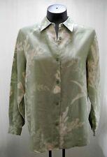 Liz Claiborne Liz Sport Olive Floral Print Linen Long Sleeve Shirt - Petite S