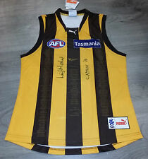 1983 CAPTAIN LEIGH MATTHEWS HAND SIGNED HAWTHORN HAWKS 50 YEAR JUMPER 5 DECADES