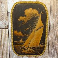 Vint Ursula Trieschmann Nautical Carved Wood Wall Plaque Yacht Sailboat 12.5x8
