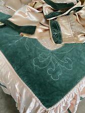 Antique Art Deco Sateen Velvet Boudoir Bedspread Drape Valance Set Peach Green