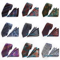 Men Silk Tie & Handkerchief Pocket Square Necktie set Novelty Floral Jacquard