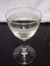 9 x c1970s Liqueur Sherry Aperitif Port Glasses 10cm - Etched & Cut Glass Design