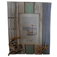 Nautical  Painted Seaside Wooden Photo Frame with Anchor and Starfish Decoration