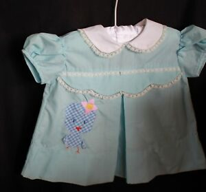 s 1 -12m vintage baby dress blue white embroidered appliqued CHICKEN lace trim