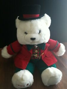 1993 Charles Dickens Large Stuffed White Christmas Bear