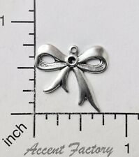 Victorian Bow Charm Jewelry Finding 29114 3 Pc Matte Silver Oxidized