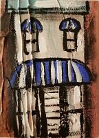 Acrylic ACEO painting canvas/abstract art/row house/awning/expressionist art