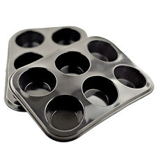 2x Silicone Bun/Muffin Tray Non Stick Bun Tin Tray Baking Pudding Mold 6 Cup