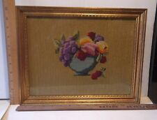 "Framed w/Glass Needlepoint Craft Portrait of Colorful Fruit in a Bowl 14"" by 11"""