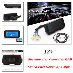 Motorcycle LCD Digital Speedometer Odometer Backlight Speed Fuel Gauge Kph Mph