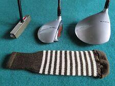 Knitted zebra style Fairway & Driver Golf Club head cover Brown / Cream