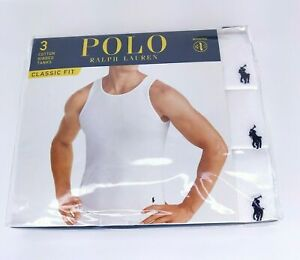 Polo Ralph Lauren Classic Fit 3-Cotton White Ribbed Tanks NEW Undershirts