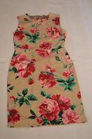 Dolce & Gabbana Silk Gold Pink Multi Colour Zip Floral Dress Size IT 44 / UK 12