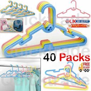 40PCS Multi Coloured Children Kids Plastic Coat Hangers Baby Clothes Hanger UK