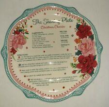 "PIONEER WOMAN CHEERFUL ROSE DESIGN STONEWARE CHRISTMAS SHARING PLATE 12"" AQUA"