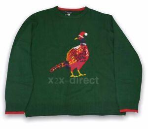 Men's Joules Cracking Festive Christmas Xmas Jumper Green Pheasant XXL NEW