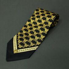 "Gianni Versace Black & Gold Medusa Head Power Silk Tie Made in Italy RARE 3.75"""