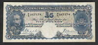 Australia R-44a. (1933) Five Pounds - Riddle/Sheehan.. George V Portrait.. Fine+