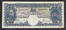 Australia R-44a. (1933) Five Pounds - Riddle/Sheehan.. George V Portrait.. Fine+