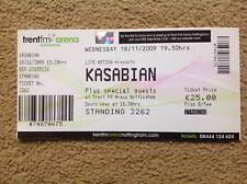 KASABIAN USED GIG TICKET NOTTINGHAM ICE ARENA 18/11/2009 FREE POST IN UK - OASIS