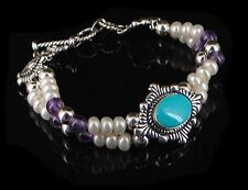 Sterling Silver Whiye Pearl Amethyst Turquoise Bracelet