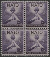 Scotts  #1008  3c  NATO  Stamp Block of 4,  MNH