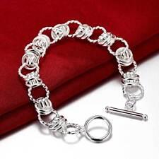 Pulsera Uno Brazalete Chapada Plata 925 de 50´s  Doble Eslabón Women's Bracelet