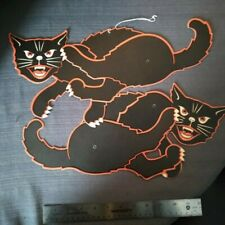 2 Vintage Halloween Black Cats Embossed Die cut Decorations Made in  Usa