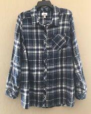 Sonoma Women's New Plus Size 1X Flannel Plaids Button Down Shirt Top
