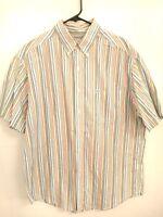 Men's Size Large Chaps Ralph Lauren White Multi-Color Striped Button Up Shirt