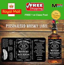 PERSONALISED TENNESSEE WHISKEY BOURBON BOTTLE LABEL STICKERS BIRTHDAY GIFT 1 L.