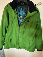 Obermeyer Green Waterproof Ski Jacket Hood Women's Size Bianca