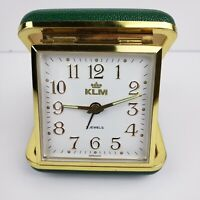 Vintage Retro Travel Wind Up Alarm Clock 2 jewels Germany KLM Working Green Case