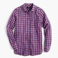 J. CREW Womens Boy Shirt Purple Twilight Plaid Button-down Top Size 12