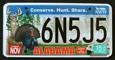 "ALABAMA "" CONSERVE WILDLIFE DEER TURKEY BIRD HUNT "" AL Specialty License Plate"