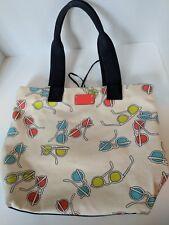 KATE SPADE Sunglasses Print Canvas Tote Purse Cream Staycation Shoulder Bag