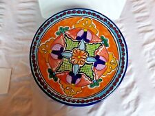 """Talavera Mexico 11.5"""" Plate Colorful Folk Art Mexican Pottery Hand Painted"""