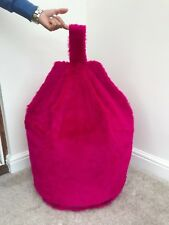 Bean Bag Filled Magenta Faux Fur 3 CUBIC FT Size Luxurious Children Bean Bag New