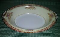 Noritake Occupied Japan Royal Ruby Oval Vegetable Bowl Floral Sprays Red Tan EXC