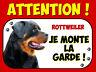 Plaque en aluminium Attention au chien Rottweiler